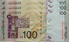 RM100 Ahmad Don side sign 3 pcs Running Number Note AD 3716444 - 446