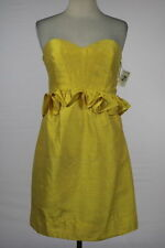 NEW Phoebe Couture Dress Size 10 Yellow Sheath Strapless Above Knee Silk