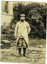 PHOTO * un brancardier pose militaire en uniforme *guerre 14-18 * dédicace