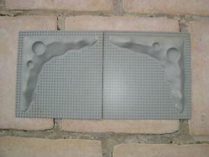 Lego Espace Lune 2 plaques de base lunaire 3D Raised Board gris  vintage