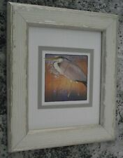 ALLEN W. SEABY framed PRINT from WOODCUT bird HERON 1908