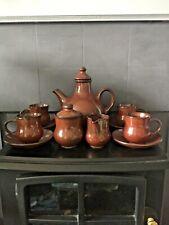 Sundo Stoneware Coffee Cups & Saucers Milk Jug & Sugar Bowl with Lid Brown Nice