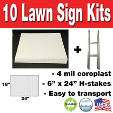 10 Pack Blank Yard Signs 18x24 With H Stakes For Garage Sales Amp Graduations