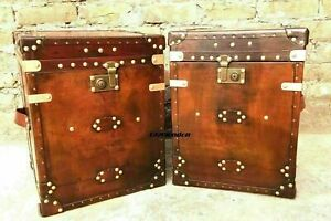 Pair of Finest English Leather Inspired Side Table Trunks Best Christmas Gift