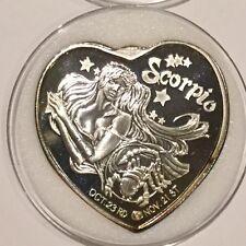 Rare Scorpio Zodiac Sign 1 Troy Oz .999 Fine Silver Round Unique Heart Shape 999