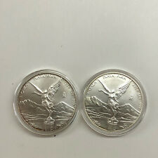 "2014 Mexico 1oz Silver Libertad Onza Lot Of 2 BU .999 Fine Key Date ""TONING"""