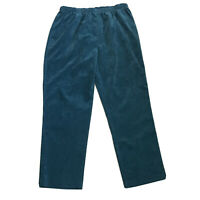 Allison Daley Corduroy Pull On Pants ~ Sz 16 ~ Teal Blue ~ Elastic Waist