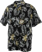 Men Aloha Shirt Cruise Luau Hawaiian Party Vintage Floral Yellow Black
