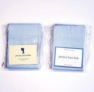 Pottery Barn Kids Woven Dots Sateen Standard Pillowcase Pair (2) Light Blue