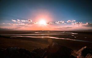 STUNNING MOUNTAIN SUNSET CANVAS PICTURE POSTER PRINT WALL ART UNFRAMED #2097