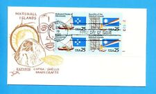 Marshall Islands 381 plate block on FDC - 1990
