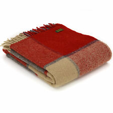 TWEEDMILL TEXTILES 100% Wool Sofa Blanket Throw BLOCK CHECK RED/SLATE