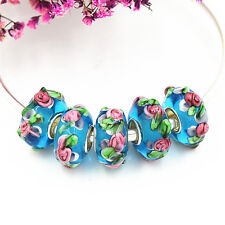 5pcs MURANO Lampwork charm Beads fit 925 silver European Bracelet Chain a516