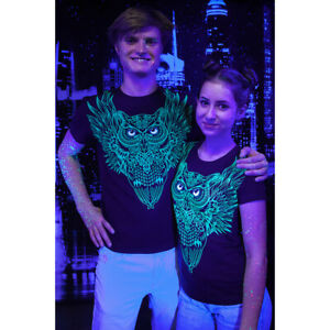 """Herren T-Shirt """"die Eule"""" mit Druck UV aktiv Schwarzlicht Neon"""