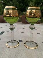 2 Antique Green Vintage Moser Wine Glass Hocks Stunning Gold Trimmed Grape Leaf