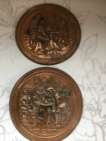 vintage Copper country kitchen Wall Hung 2Plates Decor Tavern Scenes Collectable