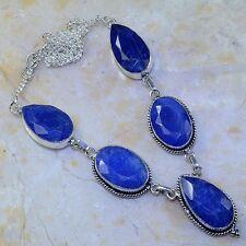 "Handmade Blue Sapphire Gemstone 925 Sterling Silver Necklace 19.75"" #M51436"
