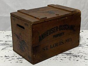 Vtg Mini Wood Beer Crate Budweiser Anheuser-Busch Inc. Recipe Box (3C)
