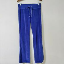 Victoria's Secret VSX Velour Track Pants S Blue Drawstring Lounge Sexy Sport Y2K