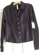 Women's Size M QUIZZ Stretch Black Fitted Blouse Silver Threads NWT