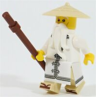 LEGO NINJAGO MOVIE MASTER SENSEI WU MINIFIGURE & STAFF - NEW GENUINE