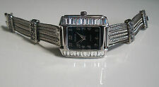 Bracelet Fashion  Special Occasion Silver Finish Bling Black Dial Women's Watch