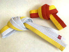 Lot BOLD LOOK Martial Arts Belts Half/Half Yellow/White Sz 5 Yellow/Orange Sz 2
