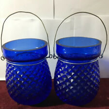 Antique Victorian Glass Christmas Fairy Lamp Candle Powered Cobalt Blue