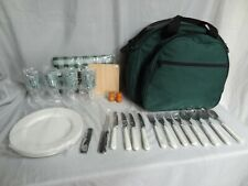 4 PERSON PICNIC BASKET / COOLER - GREEN ~