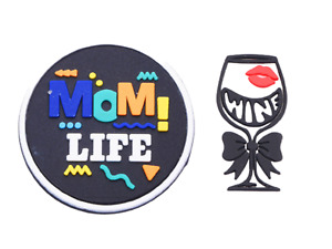 Mom Life Wine Glass Lips Shoe Charm Set for Shoes & Wristbands - Mom Gift