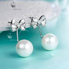 18k white gold gf crystal stud pearl earrings 925 silver pin ear jacket bow tie