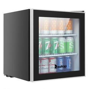 60 Cans Beverage Cooler Mini Fridge Stainless Steel Glass Door LED light Beer