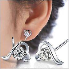 Sterling Silver Cubic Zirconia Open Heart Angel Stud Earrings Women Gift Box I31