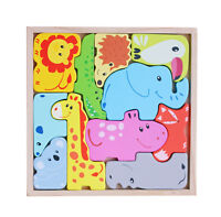 3D Wooden Animal Jigsaw Puzzle Set Play Pieces wooden Assembly Tray Educational