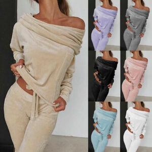 Women 2PCS Tracksuit Velvet Off Shoulder Tops Lounge Wear Pants Set Plus Size