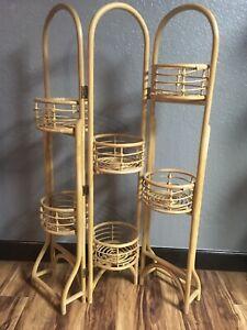 "RARE VINTAGE 55"" Rattan Bamboo 6 Plant Tri Folding Stand Boho MCM Kitchen Rack"