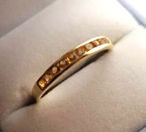 s R165 Genuine 9ct Yellow Gold NATURAL Citrine ETERNITY Ring wedding size 9.5