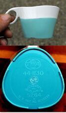 TWO VINTAGE 1960's 1970's TWA AIRLINES TURQUOISE / WHITE PLASTIC 5oz COFFEE CUP