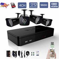 ELEC 700TVL Security Camera System 4CH 960H Outdoor CCTV DVR Surveillance 500G