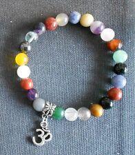 Mala Stretch Bracelet: 21 Healing 8mm Gemstones + silver OM charm (choose size)