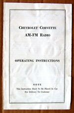 BOOKLET ~ 1966 CORVETTE  ~ AM-FM RADIO OPERATING INSTRUCTIONS