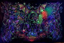 Psychedelic wall tapestry, Blacklight Art Nature UV Fluorescent Glow Psytrip Psy