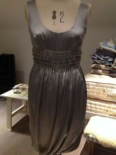 MOSCHINO CHEAP AND CHIC LADIES SILVER SILK DRESS 20's STYLE SIZE UK 8 USA6