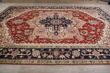 Geometric Indo Heriz Handmade Wool Red Area Rug Oriental Carpet 10x14 New
