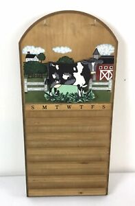 Vintage Wood Perpetual Wall Calendar Cow Farm Folk Art with Month & Number Tiles
