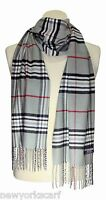 New 100% CASHMERE SCARF CHECK PLAID COLOR Gray Red Black SOFT UNISEX LOOP WOOL