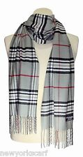 FREE SHIPPING 100% CASHMERE SCARF CHECK PLAID Gray Red Black WOOL Soft Warm