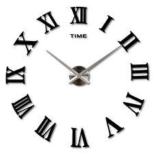 DIY 3d Wall Clock Roman Numerals Large Mirrors Surface Luxury Big Art Clockrwkg Black