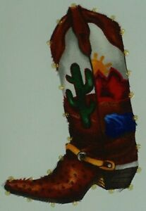 """Unsigned mixed media """"Cowboy Boot"""" western art, 11x9, cactus, mountain, plains"""