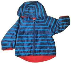 JoJo Maman Bebe 12-18 months baby boy raincoat jacket light blue lined hood red